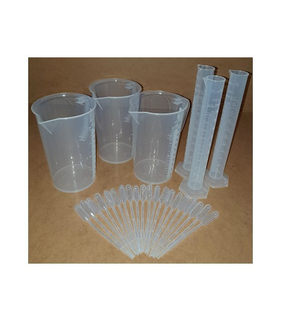kit di 3 becher 3 provette 20 pipette